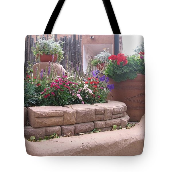 Tote Bag featuring the photograph Santa Fe Adobe Patio by Dora Sofia Caputo Photographic Art and Design