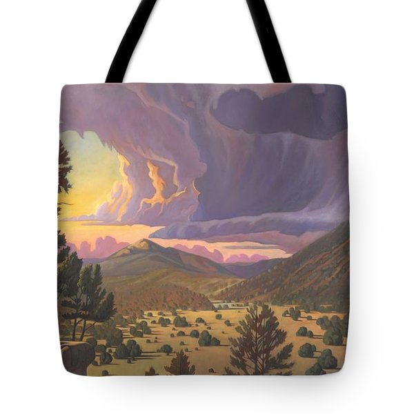 Tote Bag featuring the painting Santa Fe Baldy by Art James West