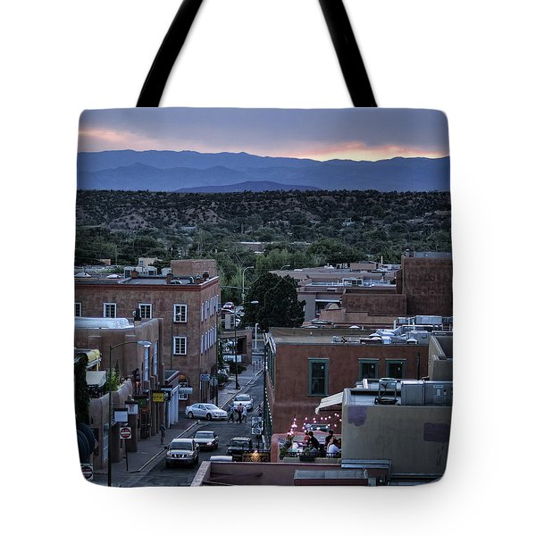 Tote Bag featuring the photograph Santa Fe Evening Rooftops by John Hansen