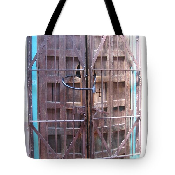 Tote Bag featuring the photograph Santa Fe Old Door by Dora Sofia Caputo Photographic Art and Design