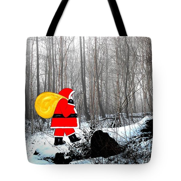 Santa In Christmas Woodlands Tote Bag by Patrick J Murphy