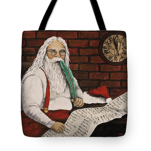 Santa Is Checking His List Tote Bag by Darice Machel McGuire