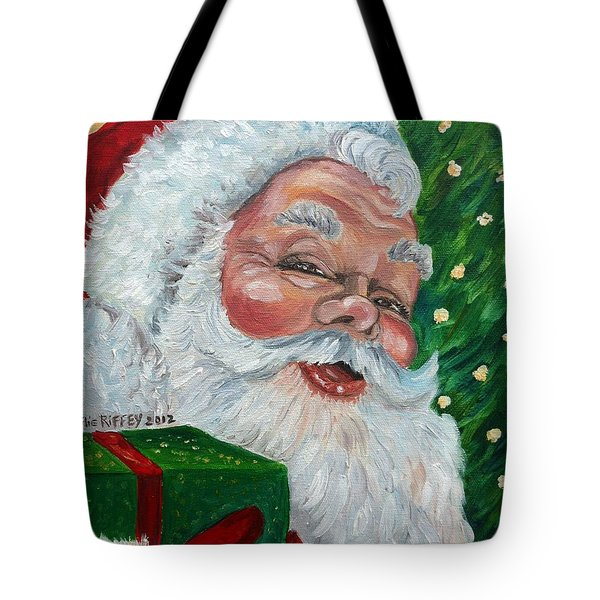 Santa Tote Bag by Julie Brugh Riffey