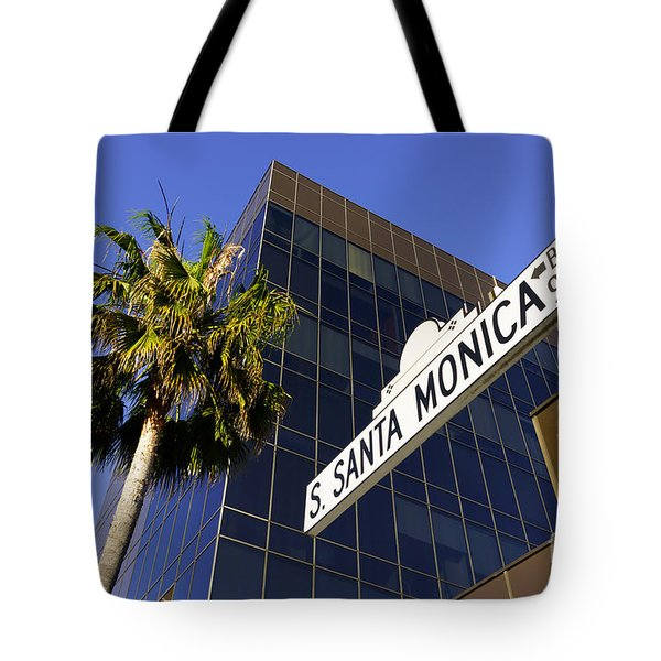 Santa Monica Blvd Sign In Beverly Hills California Tote Bag