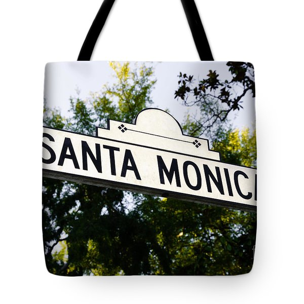Santa Monica Blvd Street Sign In Beverly Hills Tote Bag by Paul Velgos