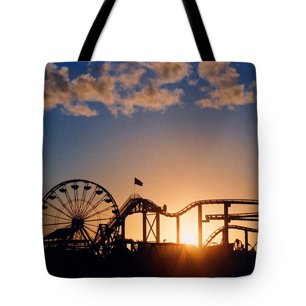 Tote Bag featuring the photograph Santa Monica Pier by Art Block Collections