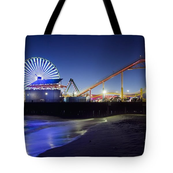 Santa Monica Pier At Night Tote Bag