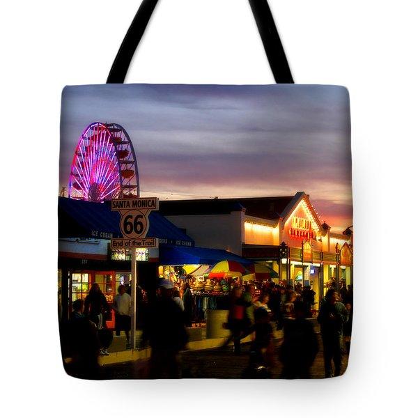 Santa Monica Pier At Sunset Tote Bag by Diana Sainz