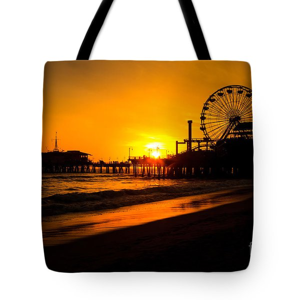 Santa Monica Pier California Sunset Photo Tote Bag by Paul Velgos
