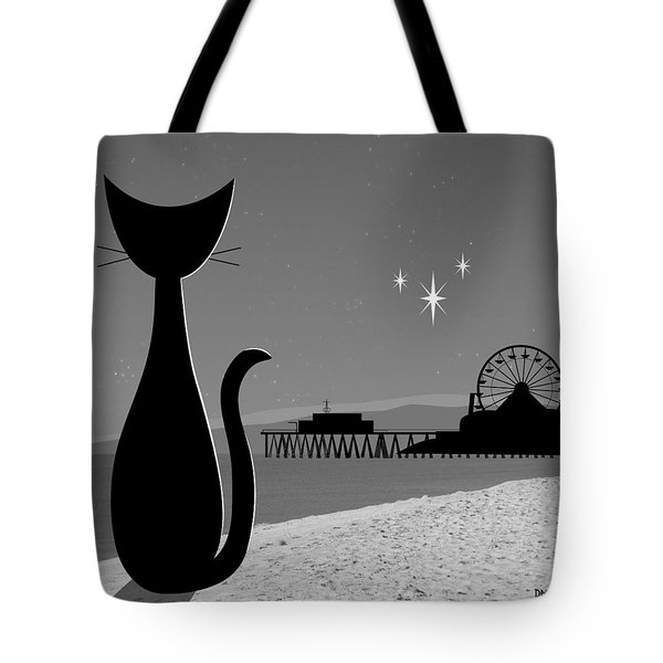 Tote Bag featuring the digital art Santa Monica Pier by Donna Mibus