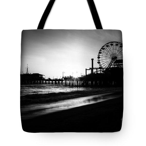 Santa Monica Pier In Black And White Tote Bag