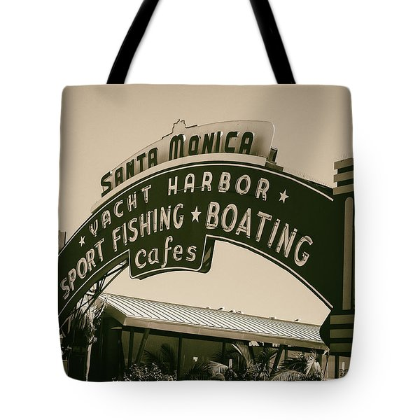 Santa Monica Pier Sign Tote Bag by David Millenheft