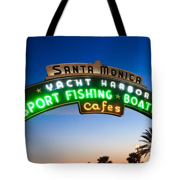 Santa Monica Pier Sign Tote Bag by Paul Velgos