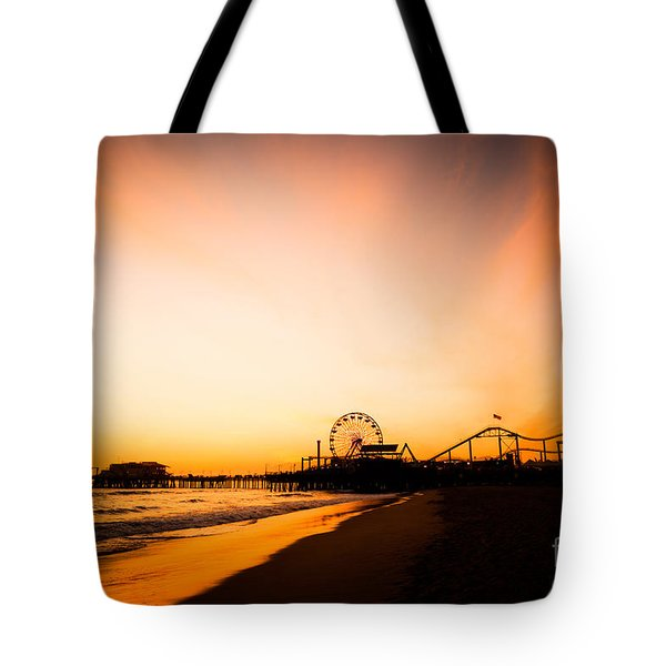Santa Monica Pier Sunset Southern California Tote Bag by Paul Velgos