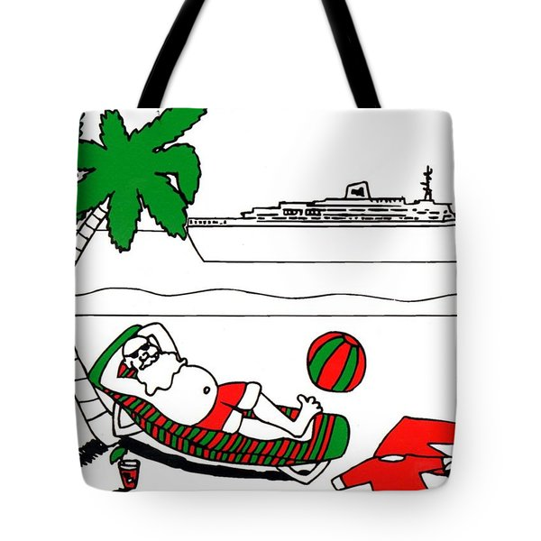 Santa On Vacation Tote Bag by Genevieve Esson