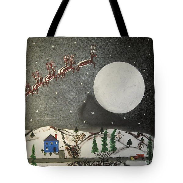 Tote Bag featuring the painting Santa Over The Moon by Jeffrey Koss