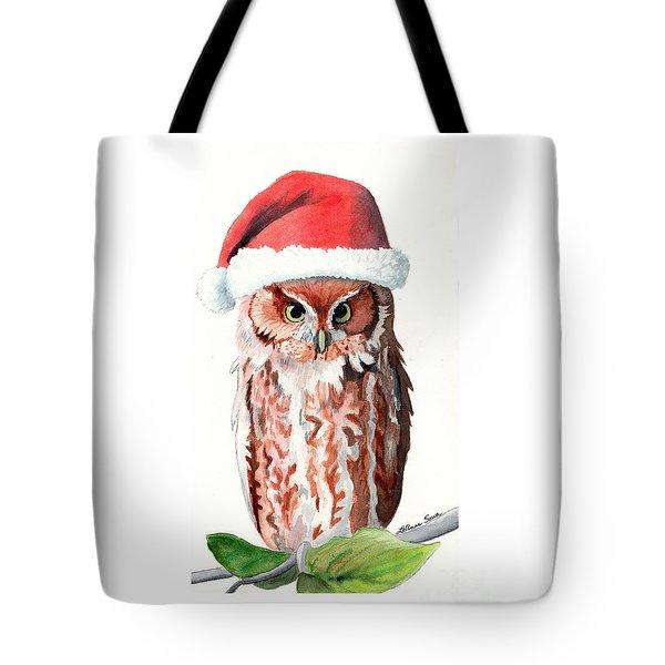 Santa Owl Tote Bag by LeAnne Sowa