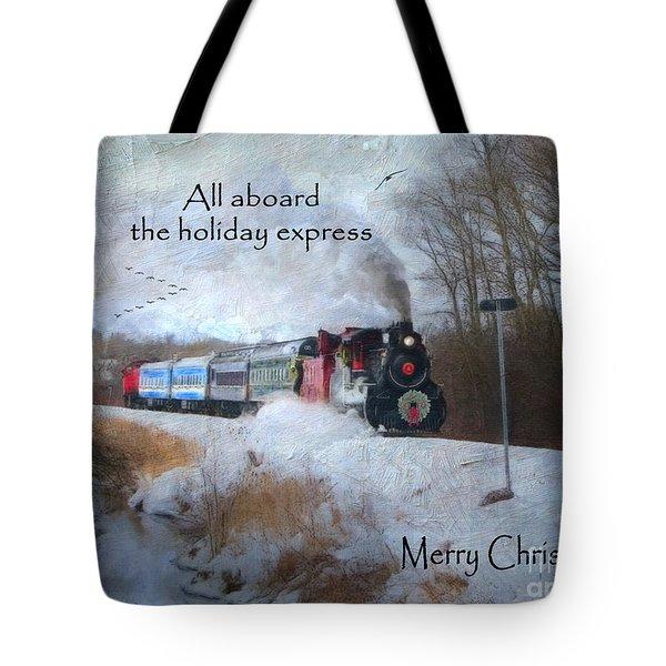 Tote Bag featuring the digital art Santa Train - Waterloo Central Railway by Lianne Schneider