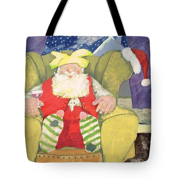 Santa Warming His Toes  Tote Bag by David Cooke