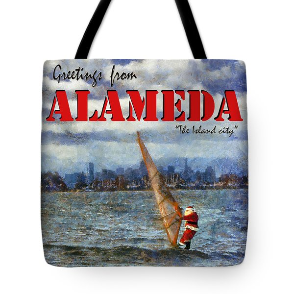 Tote Bag featuring the photograph Alameda Santa's Greetings by Linda Weinstock