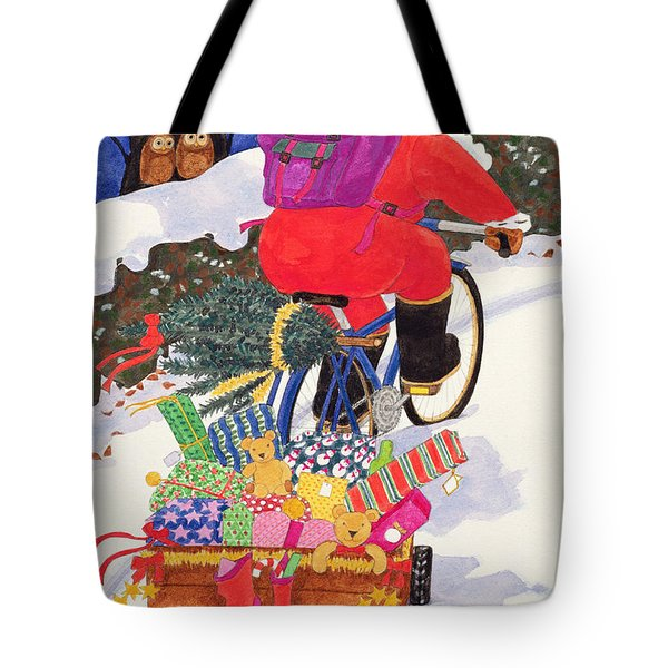 Santas Bike Tote Bag by Linda Benton