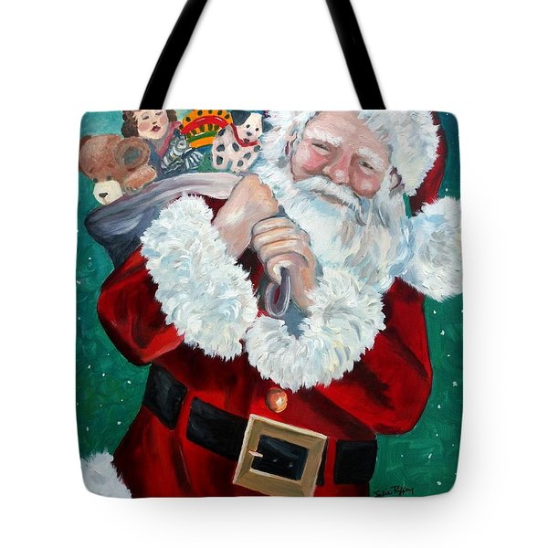 Santa's Coming To Town Tote Bag by Julie Brugh Riffey