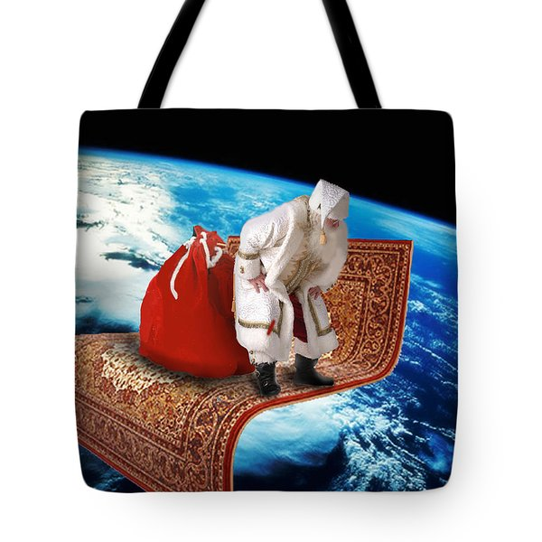 Santa's Flying Carpet Tote Bag