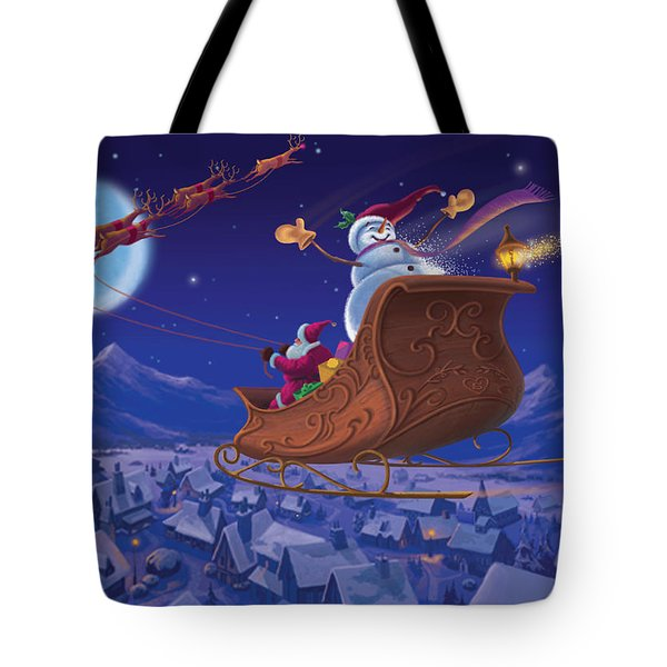 Tote Bag featuring the painting Santa's Helper by Michael Humphries