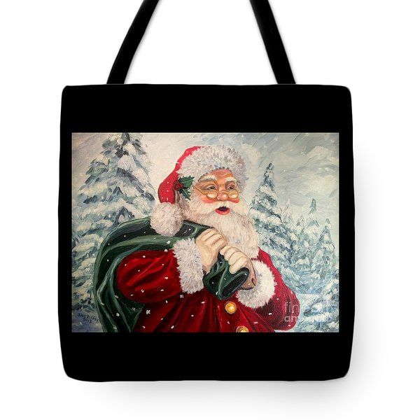 Santa's On His Way Tote Bag by Julie Brugh Riffey