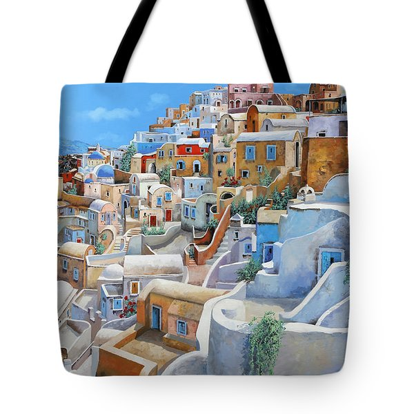 Tote Bag featuring the painting Santorini A Colori by Guido Borelli