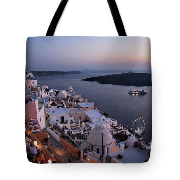 Santorini At Dusk Tote Bag