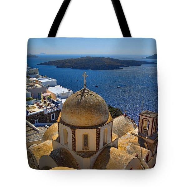 Santorini Caldera With Church And Thira Village Tote Bag