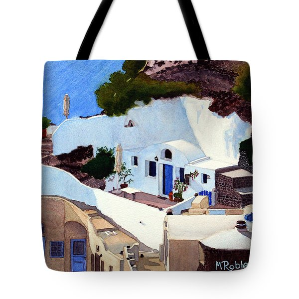 Santorini Cave Homes Tote Bag by Mike Robles