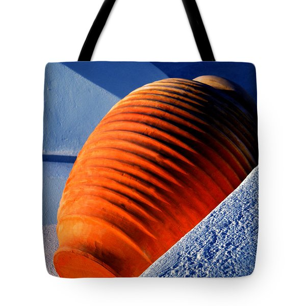 Tote Bag featuring the photograph Santorini  Ceramics Pot Greece by Colette V Hera  Guggenheim