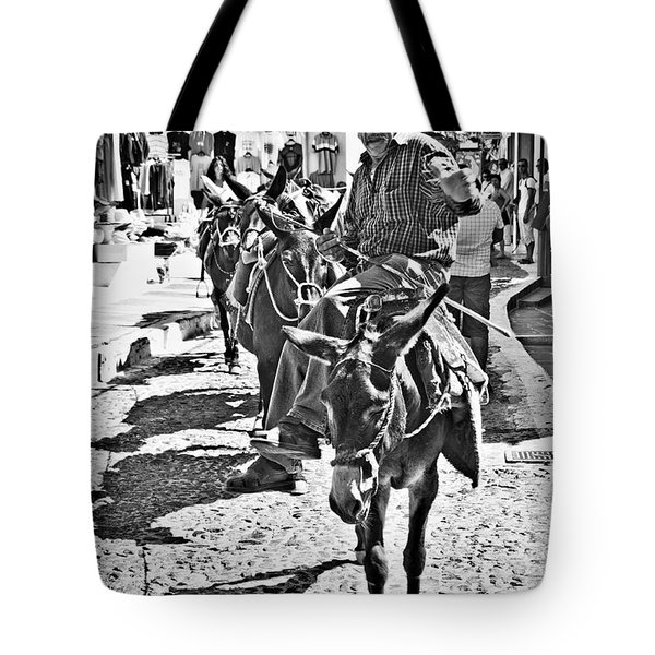 Tote Bag featuring the photograph Santorini Donkey Train. by Meirion Matthias