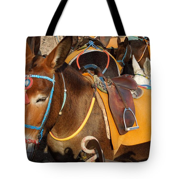Santorini Donkeys Ready For Work Tote Bag