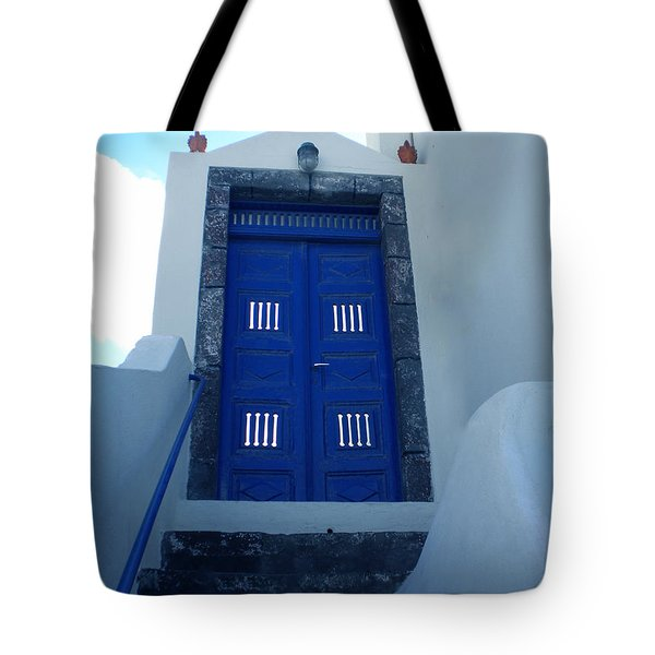 Santorini Door  To Heaven  Tote Bag