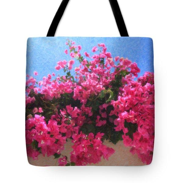 Santorini Flowers Grk1113 Tote Bag