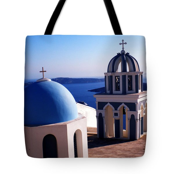 Tote Bag featuring the photograph Santorini  Island Church Greece  by Colette V Hera  Guggenheim
