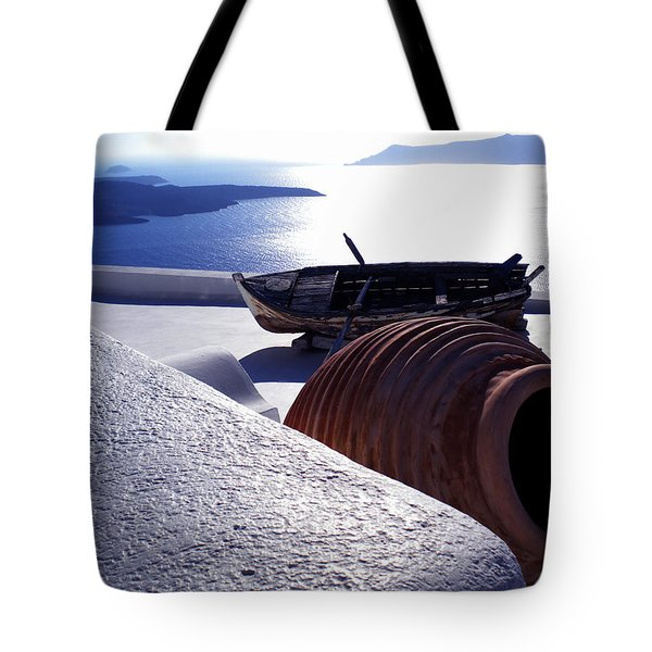 Tote Bag featuring the photograph Santorini Island Early Sunset View Greece by Colette V Hera  Guggenheim