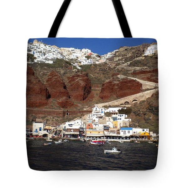 Santorini  Island  View To Oia Greece Tote Bag