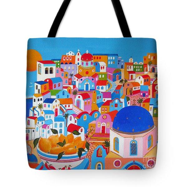 Santorini Lemons On A Sunny Day Tote Bag