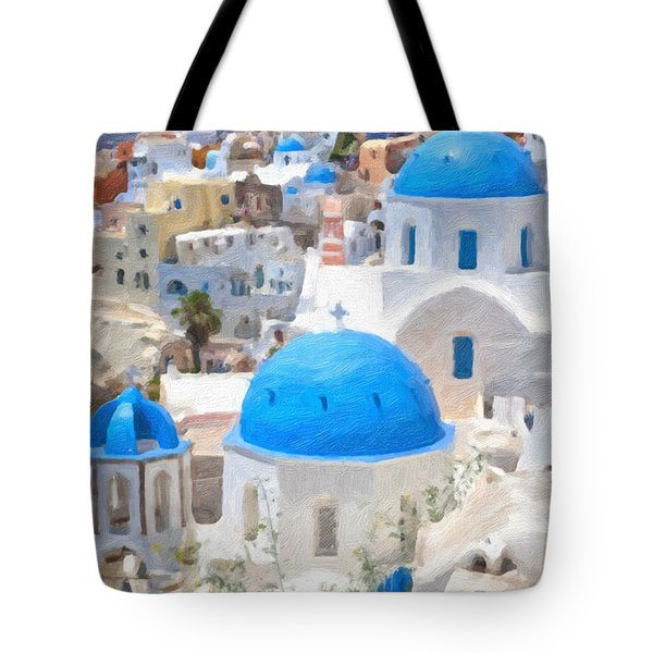 Santorini Oil Painting Tote Bag