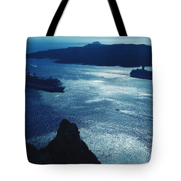 Tote Bag featuring the photograph Santorini  Silent Night View Greece by Colette V Hera  Guggenheim