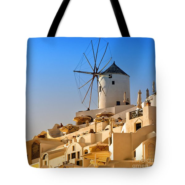 Santorini Windmill 05 Tote Bag