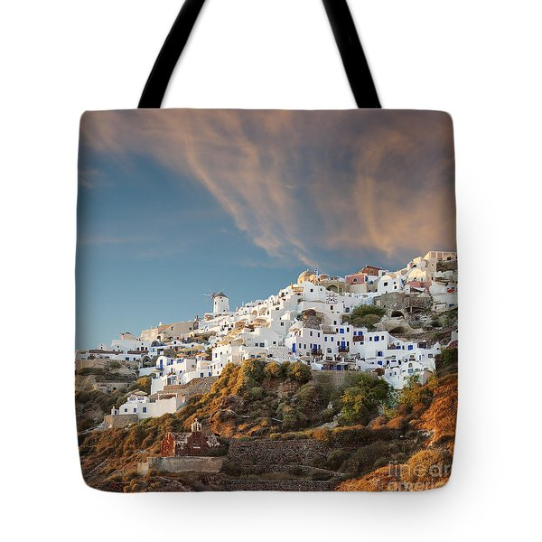 Santorini Windmill At Dusk Tote Bag