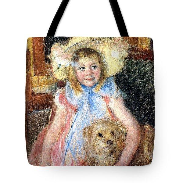 Sara Holding Her Dog Tote Bag by Marry Cassatt