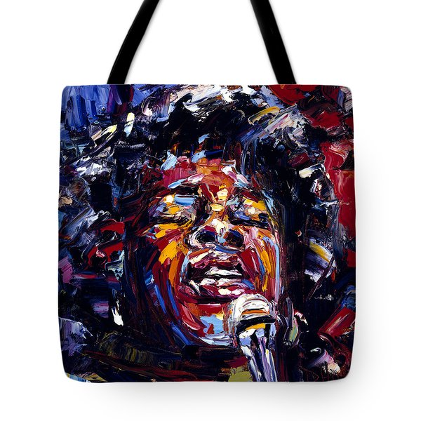 Sarah Vaughan Jazz Face Series Tote Bag by Debra Hurd