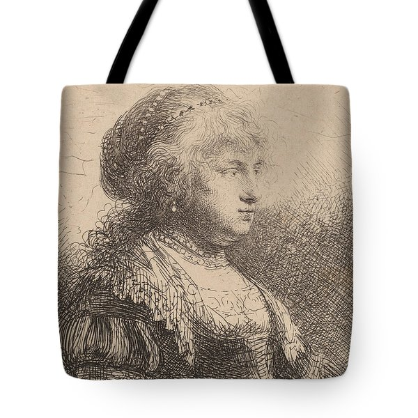 Saskia With Pearls In Her Hair Tote Bag