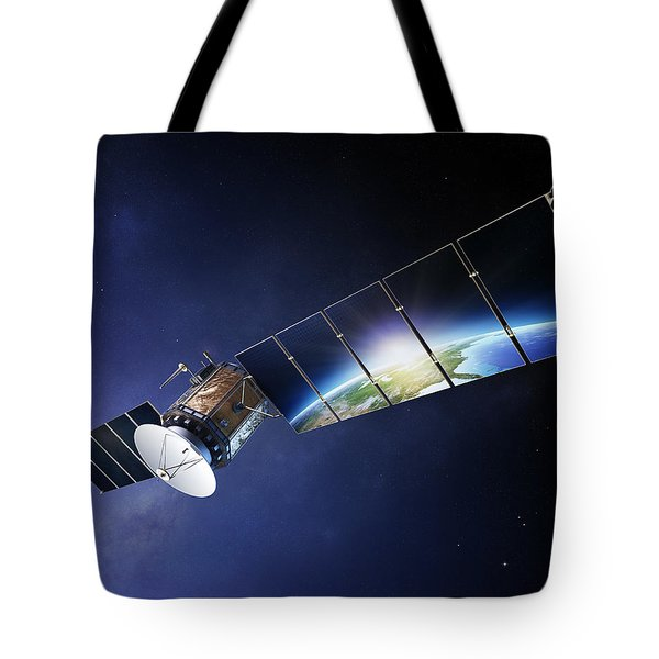 Satellite Communications With Earth Tote Bag